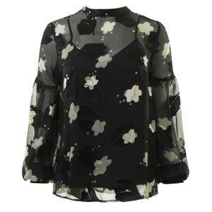 Derek Lam Black Floral Blouse